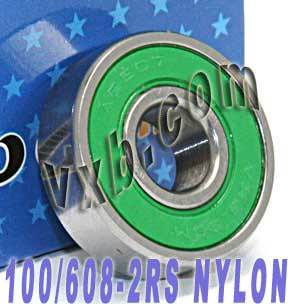 100 skateboard/inline Skate Bearings:Nylon:Sealed:vxb:Ball Bearings