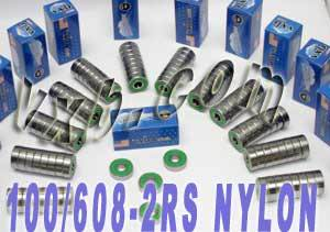 100 skateboard/inline Skate Bearings:Nylon:Sealed:vxb:Ball Bearing