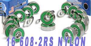 16 inline Skate Bearing Nylon Cage:Sealed:vxb:Bearing