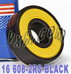 16 Sealed Skateboard Bearing:Black:vxb:Ball Bearings
