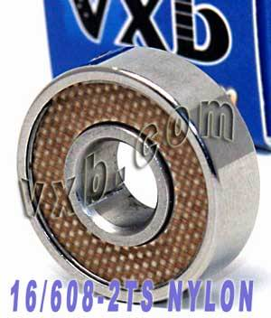 16 Skate Bearing Nylon 608-2ts: Sealed:vxb:Ball Bearing