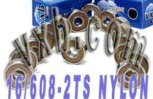 16 Skate Bearing Nylon 608-2ts: Sealed:vxb:Ball Bearings