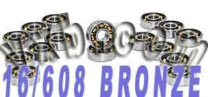 16 inline Skate Bearing:Bronze Cage:Open:vxb:Ball Bearing