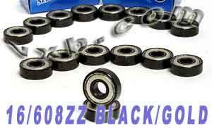 16 Inline Skate Bearing Set:Sealed:Black:vxb:Ball Bearing