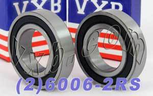 2 Bearing 6006-2RS 30x55x13 Sealed:vxb:Ball Bearing