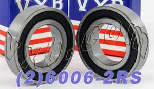 2 Bearing 6006-2RS 30x55x13 Sealed:vxb:Ball Bearings
