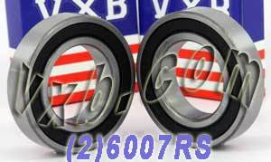 2 Bearing 6007RS 35x62x14 Sealed:vxb:Ball Bearings