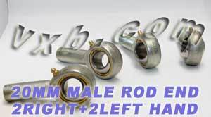 4 Male Rod End 20mm POS20 2 Right and 2 Left Hand:vxb:Ball Bearings