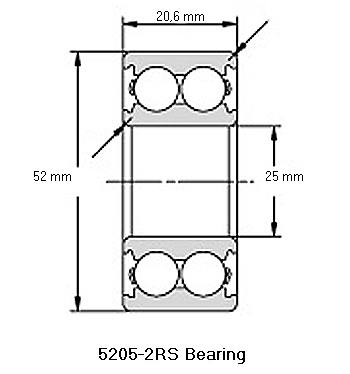 5205-2RS Bearing Drawing
