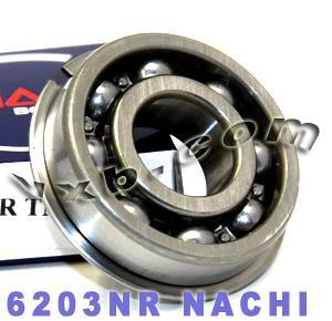 6203NR Nachi Bearing 17mm x 40mm x 12mm:Open:C3:Snap Ring