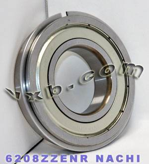 6208ZZENR Nachi Bearing 40x80x18:Shielded:C3:Snap Ring:Japan