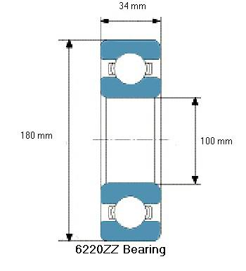 6220ZZ Bearing Drawing