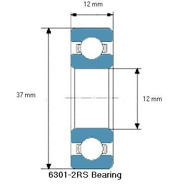 6301-2RS Bearing Drawing