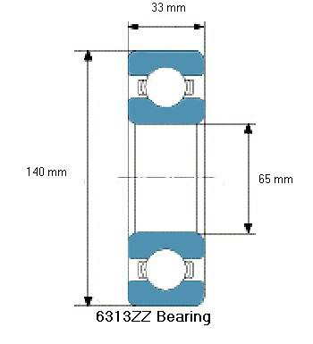 6313ZZ Bearing Drawing