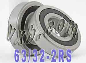 2 Bearing 63/32-2RS 32x75x20 Sealed:vxb:Ball Bearing