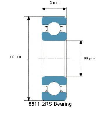 6811-2RS Bearing Drawing