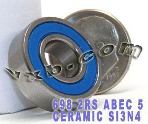 698-2RS Bearing 8x19x6 Si3N4 Ceramic:Chrome:Sealed:ABEC-5:vxb:Ball Bearing