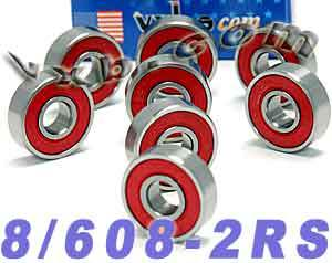 8 Skateboard Bearing Set:Sealed:vxb:Ball Bearing