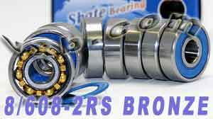 8 Skateboard Bearings:Bronze Cage:Sealed:vxb:Bearing