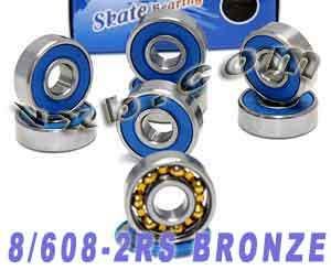 8 Skateboard Bearings:Bronze Cage:Sealed:vxb:Ball Bearing