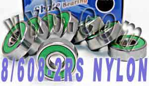 8 Skateboard Bearings:Nylon Cage:Sealed:vxb:Ball Bearing