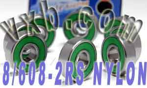 8 Skateboard Bearings:Nylon Cage:Sealed:vxb:Ball Bearings