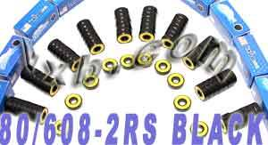 80 608-2RS Black Skateboard/Inline Skate/Rollerblade/Hockey Bearing:vxb:Ball Bearings