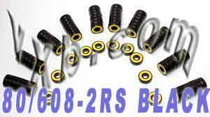 80 608-2RS Black Skateboard/Inline Skate/Rollerblade/Hockey Bearing:vxb:Ball Bearing