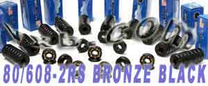 80 Skateboard Bearings:Bronze Cage:Sealed:Black:vxb:Ball Bearing