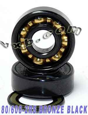 80 Skateboard Bearings:Bronze Cage:Sealed:Black:vxb:Ball Bearings