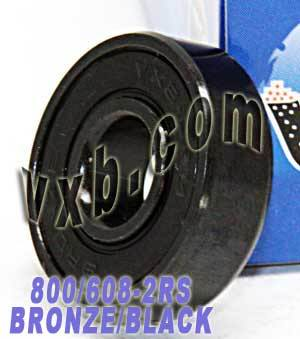 800 Skateboard Bearings:Bronze Cage:Sealed:Black:vxb:Ball Bearings