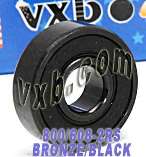 800 Skateboard Bearings:Bronze Cage:Sealed:Black:vxb:Ball Bearing