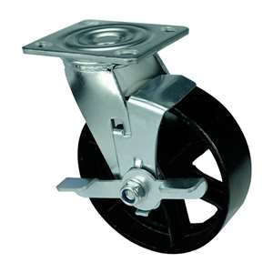 "6"" Inch Caster Wheel 617 pounds Swivel and Center Brake Cast iron Top Plate"