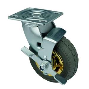 "6"" Inch Caster Wheel 551 pounds Swivel and Center Brake Polypropylene core  and  Rubber Top Plate"