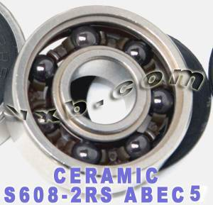 S608-2RS ABEC-5 Bearing Sealed Ceramic Si3N4 Skateboard Bearings