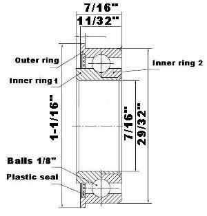 "F1429 Unground Flanged 7/16"" bore:Full Complement:vxb:Ball Bearing"