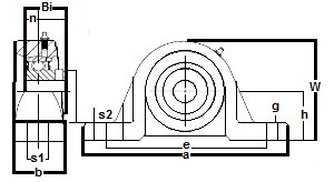 "FHSP208-25 Pillow Block Standard Shaft Height:1 9/16"" inner diameter:PEER Ball Bearing"