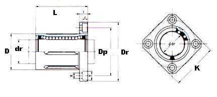 25mm Square Flanged Linear Motion Bushing:vxb:Ball Bearing