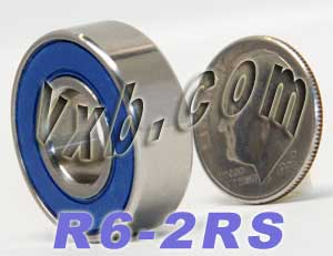 "R6-2RS Sealed Bearing 3/8""x7/8""x9/32"":vxb:Ball Bearing"