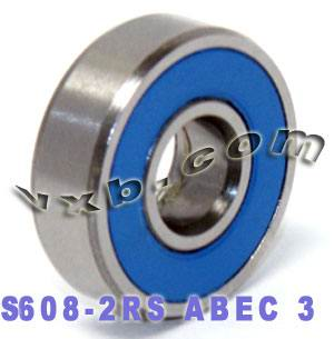 S608-2RS Skate Bearing 8x22x7 Stainless:Sealed:vxb:Ball Bearing