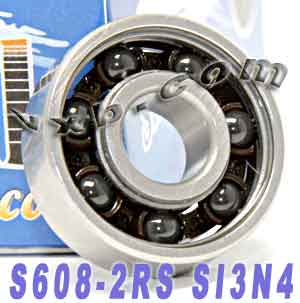 S608-2RS Bearing 8x22x7 Ceramic Si3N4:Sealed:vxb:Ball Bearing