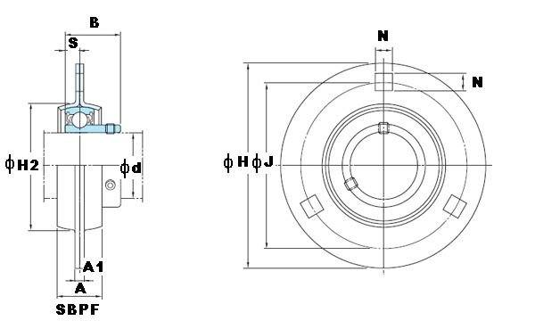 "1 7/16"" Stamped steel plate round three-bolt flange type Bearing SBPF207-23:vxb:Ball Bearing"