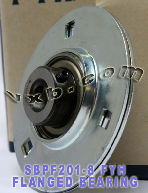 "1/2"" Stamped steel plate round three-bolt flange type Bearing SBPF201-8:vxb:Ball Bearing"