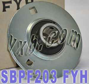 17mm Stamped steel plate round three-bolt flange type Bearing SBPF203:vxb:Ball Bearing
