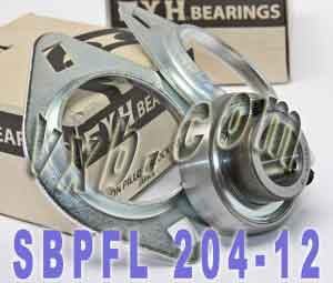 "3/4"" Stamped steel plate oval two bolt Flanged Bearing SBPFL204-12:vxb:Ball Bearing"