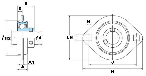 "1/2"" Stamped steel plate oval two bolt Flanged Bearing SBPFL201-8:vxb:Ball Bearing"