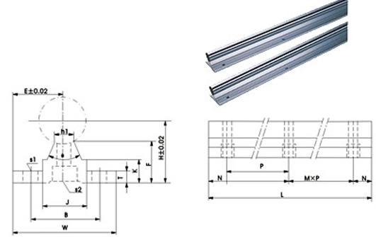 "CNC 20mm Linear Guideway System 60"" Long Rail:vxb:Ball Bearings"