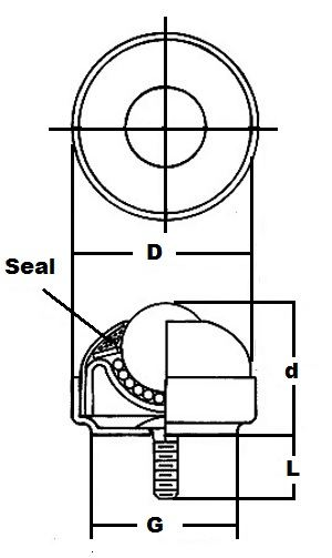 "NSBT-1 CS 1/4"" Stud Mounted Ball Transfer Unit 1"" Main Ball:vxb:Ball Bearing"
