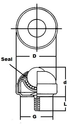"SBT-1 SS 1/4"" Stud-Mounted Ball Transfer Unit 1"" Main Ball:vxb:Ball Bearing"