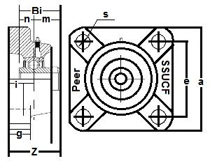 "SSUCF210-31 Stainless Steel Flange Units 4 Bolt:1 15/16"" inner diameter:PEER:Ball Bearing"